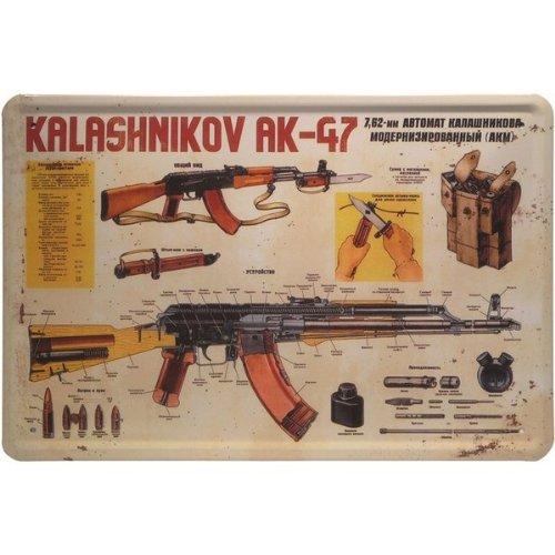 Blechschild-Kalashnikov-AK-47-Gewehr-20-x-30-cm-Blech-146