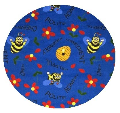 Blue Bee Attitudes - 10' Round Custom Stainmaster Premium Nylon Carpet Area Rug ~ Bound Finished Edges
