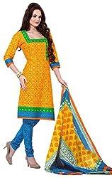 HIFI Ethnicwear Women's Dress Material(HIFI 3209_Yellow_Free Size)