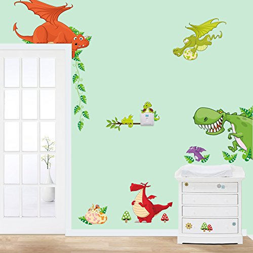 Stickerkoenig wandtattoo kinderzimmer dinosaurier drachen - Wandsticker kinderzimmer jungen ...
