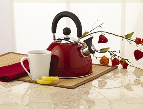 Kamenstein Whistle Tea Kettle (Stainless Steel, 2-Quart, Red)