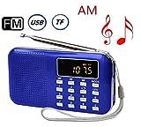 USB充電式 AM/FM 多機能 超薄型ミニポケットラジオ Micro SD/TFカードに対応 LEDライト付き (ブルー)