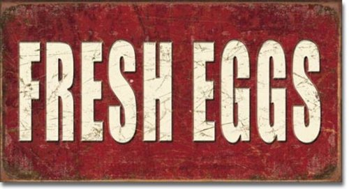 Fresh Eggs Distressed Retro Vintage Tin Sign (DESIGN 1, 1)