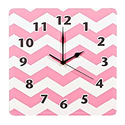 Infant Baby Girl Kids Squared Pink And White Chevron Nursery Clock