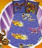 SKYLANDERS - Parure de Lit 1 Personne - Housse de couette 140x200 - Taie 65x65 - 100% Coton - Violet