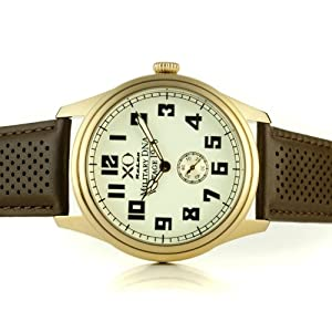 Mens British Supermarine Spitfire WWII Air fighter Military DNA Gold White Dial Brown Strap 06A