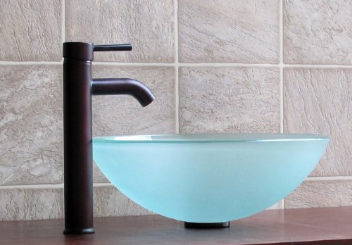 New Oil Rubbed Bronze Bathroom Faucet Vessel Sink Lavatory: *Comapre Price Bathroom Frosted Glass Vessel Sink 12FE3
