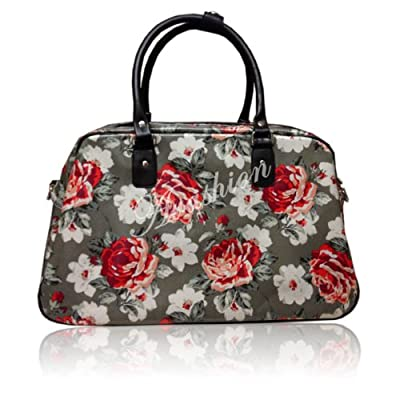 Oilcloth Polka Dot/Flower/Owl Print Holdall Weekend Travel Bag (FLOWER KHAKI)