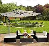 HOMCOM 5 pc Rattan Wicker Conservatory Furniture Garden Corner Sofa Outdoor Patio Set Aluminium Brown (Parasol Not Included)