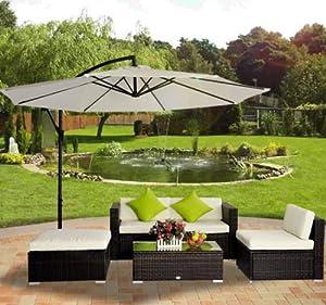 Outsunny 5 pc Rattan Wicker Conservatory Furniture Garden Corner Sofa Outdoor Patio Set Aluminium Brown (Parasol Not Included)