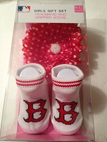 MLB Boston Red Sox Girls Gift Set - Gripper Socks / Headband 0-12 - 1