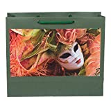 "Medium Paper Bags Green Mask Print Size 10""x12""x4"" (Pack-5)"
