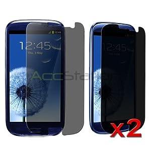 For Samsung Galaxy S III S3 T999 Tmobile 2x Privacy Screen Protector Film Shield