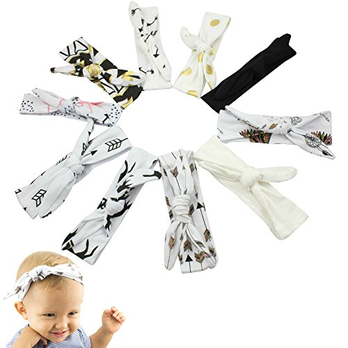JLIKA Baby Girl Headbands Cotton Knotted Headband Headwrap Modern Turban Fashion Head Band Wrap Rabbit Ear Bows for newborns infants toddlers - 10 Pack (Tribal Collection) (Tribal) (Vintage Head Wraps compare prices)
