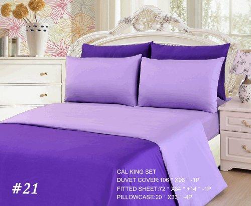 Tache 6 Piece 100% Cotton Purple Lavender Dream Reversible Duvet Cover Set, Cal King front-1016578