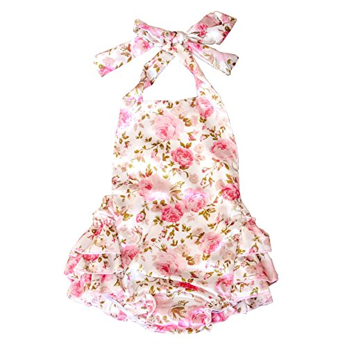 Lisianthus Baby Girls' Ruffles Romper Dress Summer Clothing Rose A Size 6M