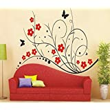 Wall Stickers Floral Design Red 1073