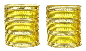 Exclusive Beautiful Indian Traditional Ethnic Set Of 68 Bangles For Women's Jewelry (Yellow Color)