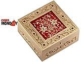 Red Jewelry Box - CYBER MONDAY SPECIAL PRICE- Wood Decorative Keepsake Trinket Oragnizer Storage Box with Beautiful ZARI WORK - Handmade Christmas GIFTS from INDIA