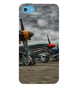 PrintVisa Fighter Plane Pattern 3D Hard Polycarbonate Designer Back Case Cover for Apple iPhone 5C