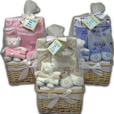 What a Cutie Pie New Baby Gift Basket for Boys or Girls(Blue)