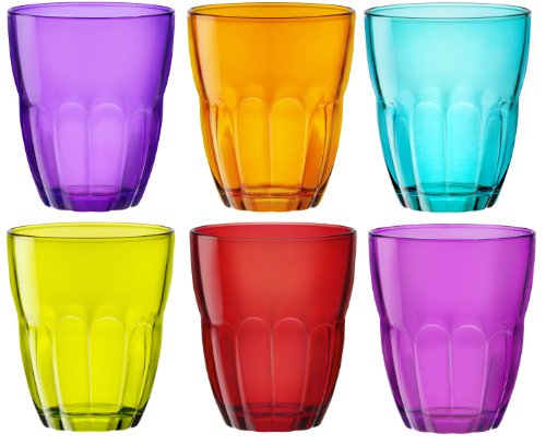 Ercole Coloured Tumblers Glasses - 6 Piece set - Blue, Purple, Pink, Green, Orange, Red - 230ml - 8oz
