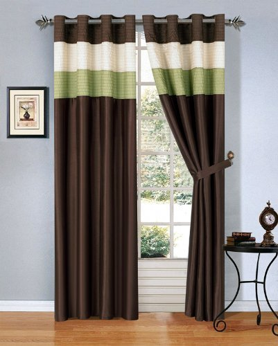 Modern Sage Green Brown Beige Faux Silk Taffeta Grommet Window Curtain Drape Set 108 By 84