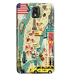 Blue Throat Road Map Printed Designer Back Cover/Case For Samsung Galaxy Note 3