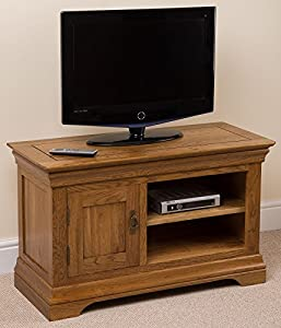 Cheap  French Rustic Solid Oak Small Tv / DVD / Hi-Fi Cabinet Entertainment Unit Stand