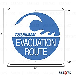 EM-1a Tsunami Evacuation Route Sign, 24