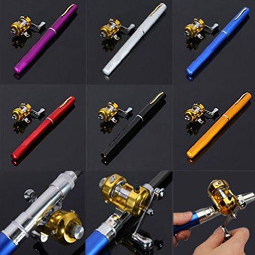 Telescopic Mini Portable Pocket Fish Pen Aluminum Alloy Fishing Rod Pole + Reel (Fish Space Pen compare prices)