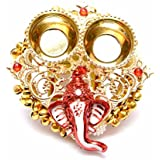 One Roof Store Microfiber Decorative Ganesha Plate With Katori (11 Cm X 12 Cm X 3 Cm, Gold And Red)