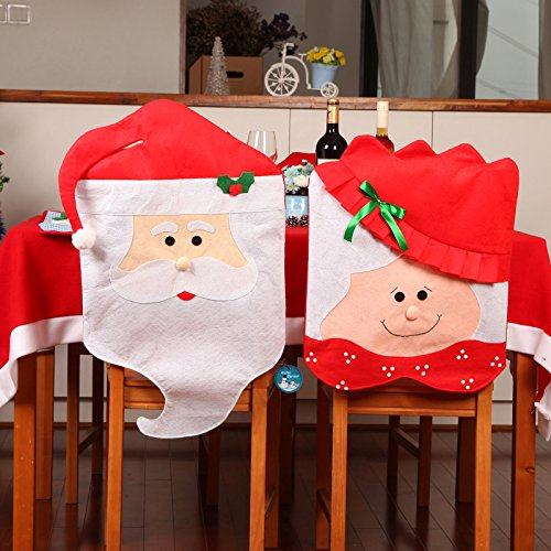 Archie Benson 2PCS Mr & Mrs Santa Claus Red Hat Christmas Decoration Thick Kitchen Chair Covers for Holiday Party Festive Halloween Kitchen Dining Room (Mrs Claus Christmas)