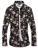 メンズ オシャレ 長袖 花柄 シャツ オラオラ 系 上質仕様 チョイ ワル 系 (黒 カラフル XL)