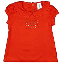 Snuggles Puff Sleeves Dress With Embroidery At Chest - Orange (12-18 M)