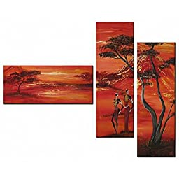Neron Art - Red Night Landscape Oil Paintings Set of 3 Panels on Gallery Wrapped Canvas overall 42X32 inch