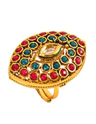 Gold & More Gold Plated Polki Ring For Women (1818)