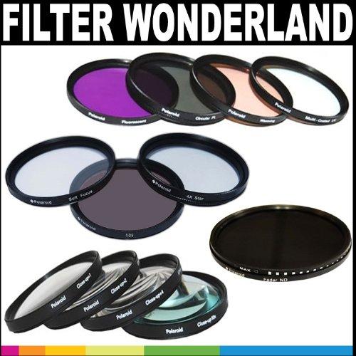 Polaroid Premium Package: Polaroid Optics 58mm Filter Wonderland Kit (HD Multi-Coated Variable Range Neutral Density, UV, Circular Polarizer, Warming, ND9, FLD, Soft Focus, Rotating 4 Point Star, +1, +2, +4, +10)