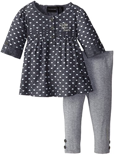 Calvin Klein Baby-Girls Infant Blue Chambray Tunic With Leggings, Multi, 18 Months