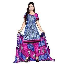 M Fab Printed Blue Cotton Un Stitched Dress Material