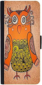 Snoogg Cute Owl On Real Cardboard Background Lacy Bird On Paperdesigner Prote...