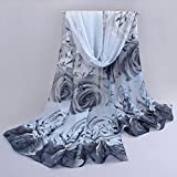 Vovotrade® Womens Lady Beautiful Rose Pattern Elegant Shawl Scarf Scarves Wrap Stole(Gray)