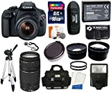 Canon EOS Rebel T5 Digital Camera SLR Kit With Canon EF-S 18-55mm IS II + 16 GB Super Kit -- Includes: Canon 75-300mm III Lens + Large Vidpro Multi-Lens Case (Black) + Transcend 16 GB Class 10 SDHC Card + Zeikos Card Reader + LP-E10 High Capacity Lithium-Ion Battery Pack + 2 Zeikos 58mm UV Filters + Memory Card Storage Wallet + Digital Camera Cleaning Kit + Extra Lens Cap + Capkeeper + Screen Protector + .45x Wide Angle Lens (58mm) + 2.5x Telephoto Lens (58mm) + Tripod