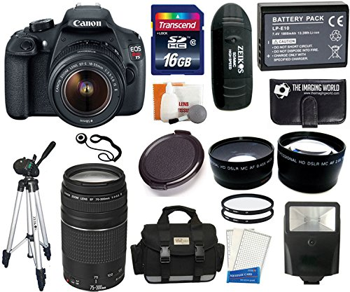 Canon Eos Rebel T5 Digital Camera Slr Kit With Canon Ef-S 18-55Mm Is Ii + 16 Gb Super Kit -- Includes: Canon 75-300Mm Iii Lens + Large Vidpro Multi-Lens Case (Black) + Transcend 16 Gb Class 10 Sdhc Card + Zeikos Card Reader + Lp-E10 High Capacity Lithium-