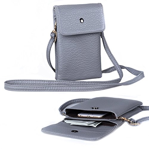 09. Women Soft Leather Crossbody Cellphone Purse Bag, Small Wallet with Shoulder Strap + Katloo Nail Clipper