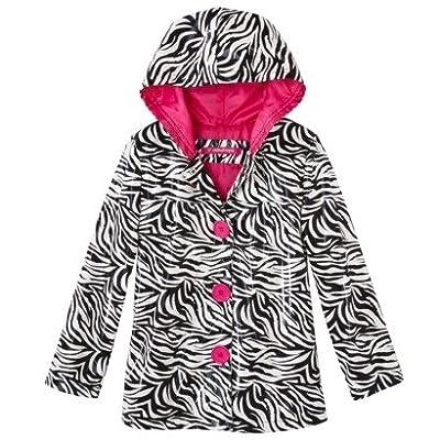 Raindrops Girls Zebra Hooded Raincoat Jacket