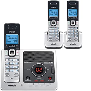 V-Tech DS6121-3 DECT 6.0 Digital Three Handset Answering System with Caller ID (Silver/Gray)