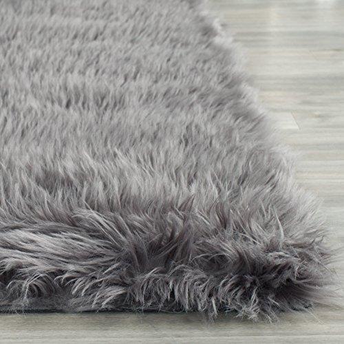 Safavieh Faux Sheep Skin Collection FSS235D Handmade Grey Area Rug, 5 feet by 8 feet (5' x 8')