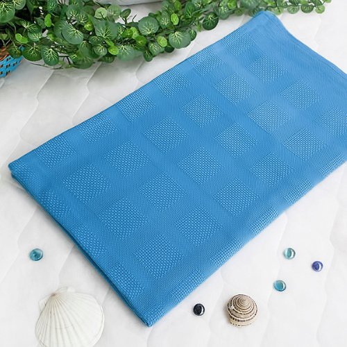 [Deep Sky Blue] 100% Cotton Jacquard Weave Throw Blanket (50 by 59.8 inches)