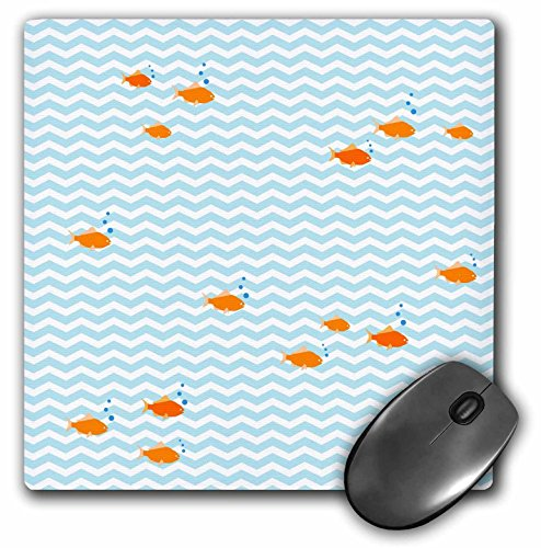 3dRose LLC 8 x 8 x 0.25 Inches Mouse Pad, Blue And White Chevron Sea Waves Orange Fish Pattern - Nautical Goldfish On Zig Zags - Ocean Zigzags (mp_120175_1)
